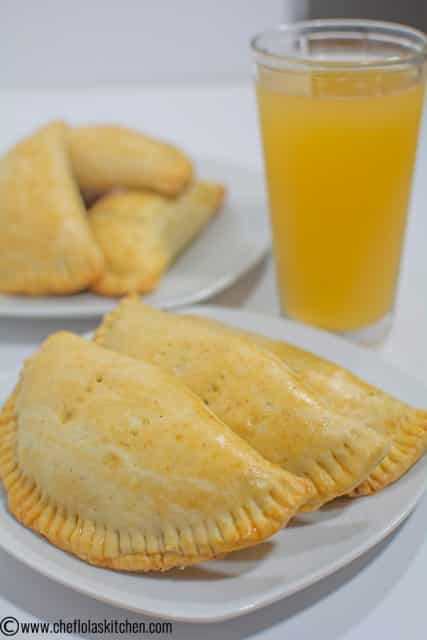 Freshly baked Nigerian meat Pie served with cold pineapple juice