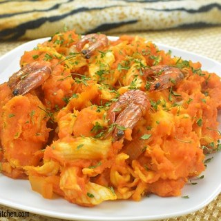 Close up view of the The Nigerian Yam pottage/Yam Porridge (Asaro) but at 45 degree angle