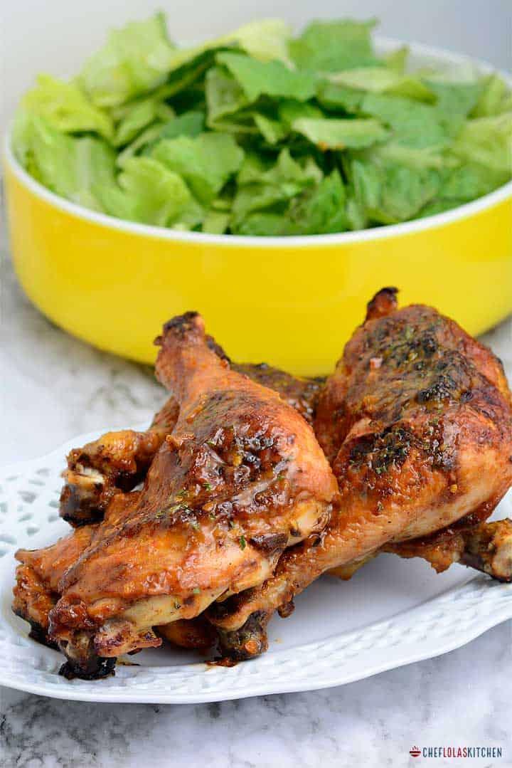 Peri peri Chicken leq quarters served in a plate