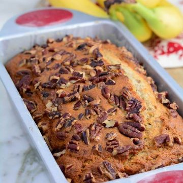 Delicious and Moist homemade Banana Bread fresh from the oven
