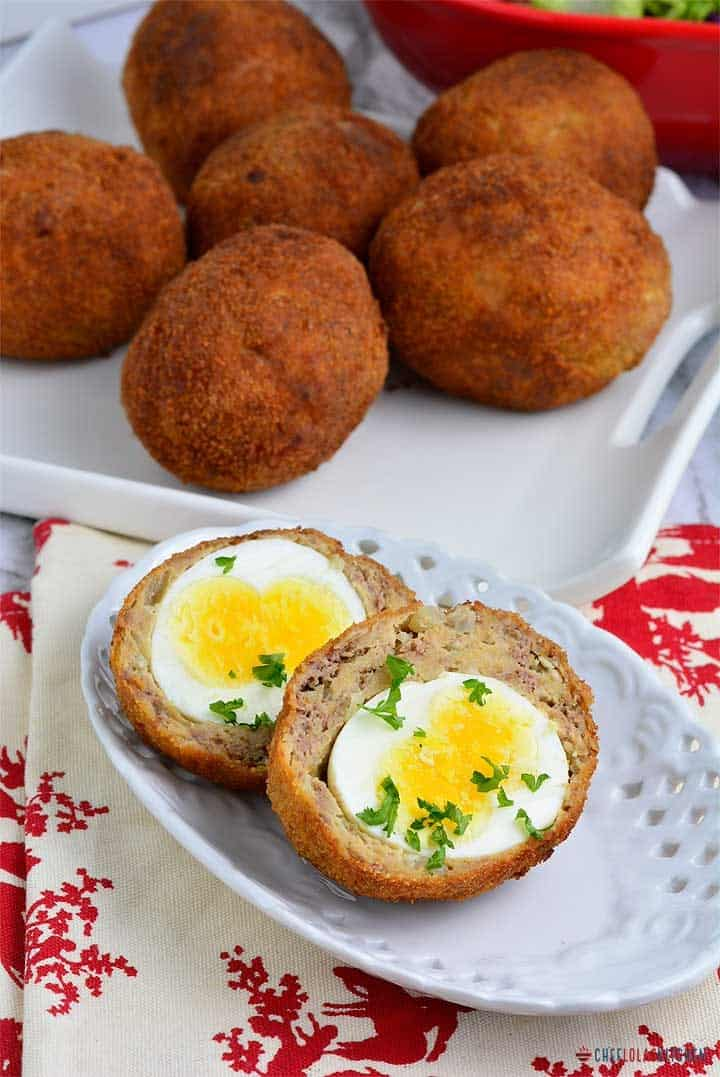 How to make scotch egg chef lolas kitchen this scotch eggs are super easy to make its basically boiled eggs wrapped in a blanket of sausage meat breaded and deep fried till golden brown and i forumfinder Image collections