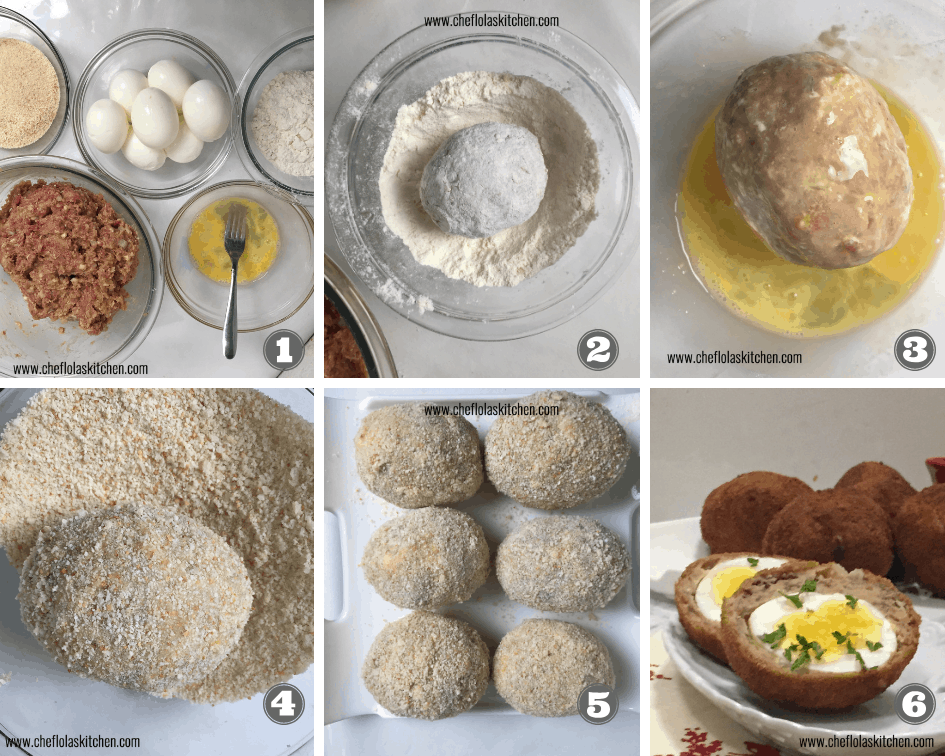 Step by step direction on how to make scotch eggs