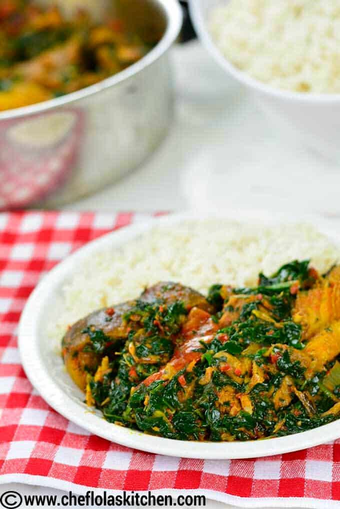 African stewed spinach also known as Efo riro or vegetable soup