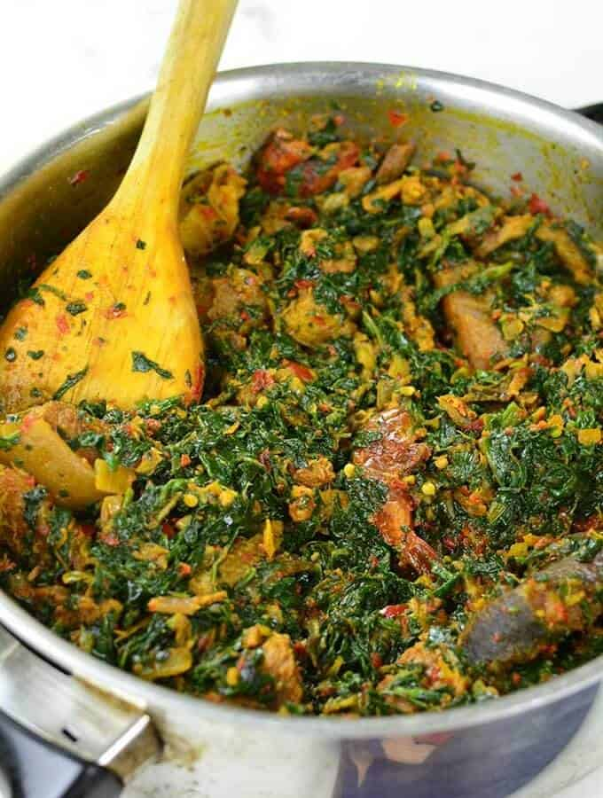 African stewed spinach in a pan
