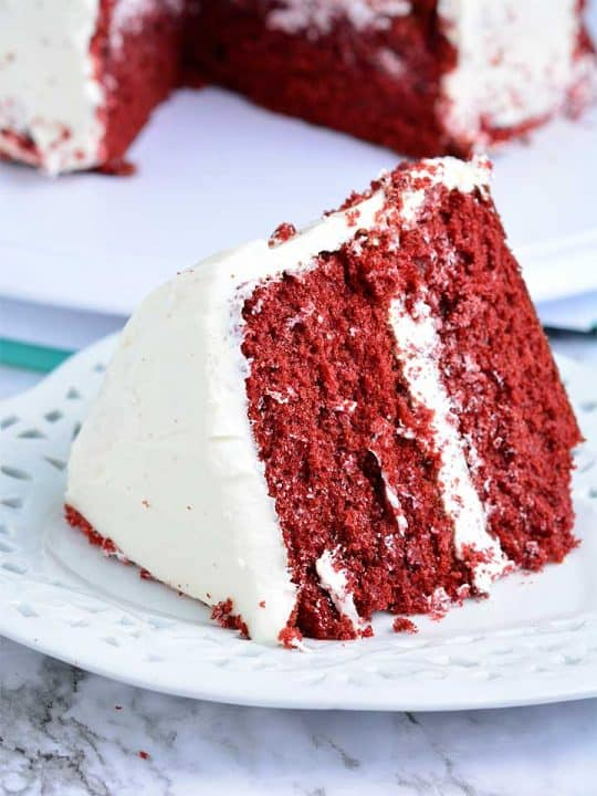 A big chunk of red Velvet Cake
