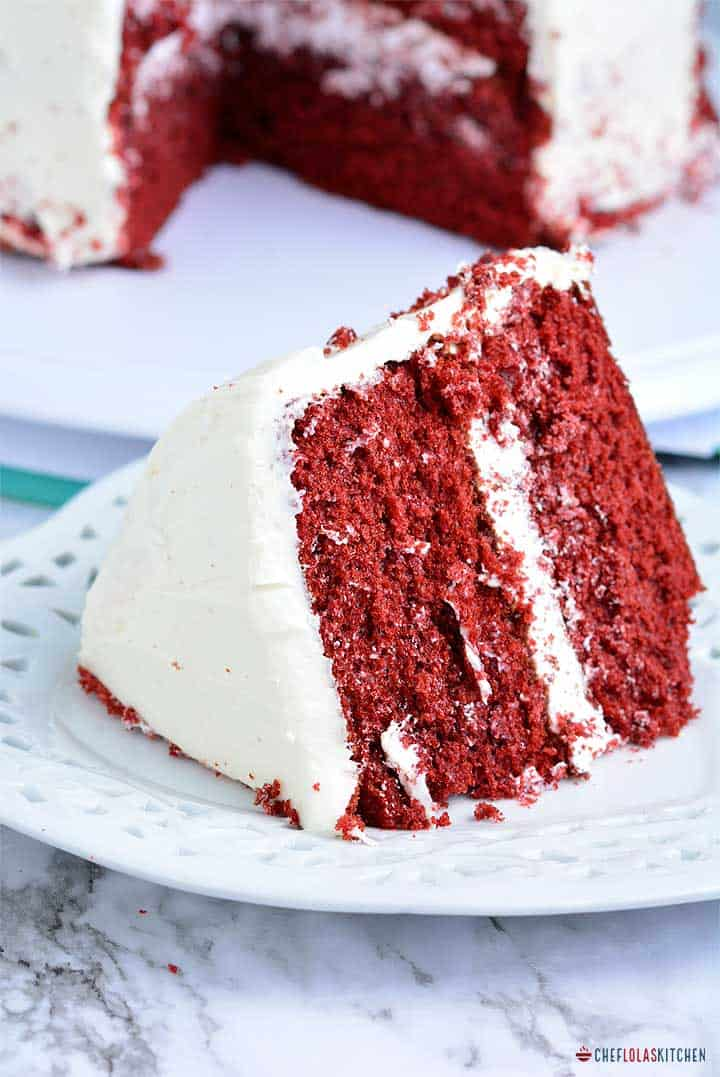 A big chunk of red Velvet Cake