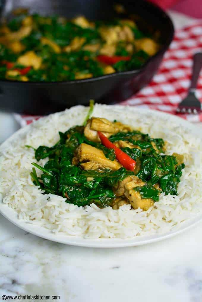 Chicken Stir fry with Spinach in a plate