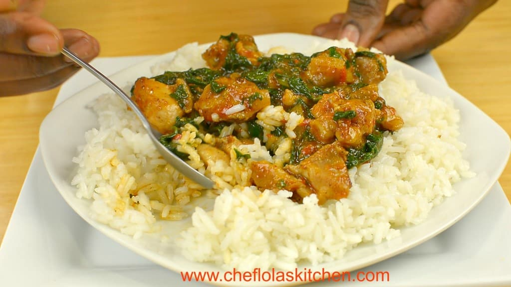 Chicken stir fry with Spinach served over Rice