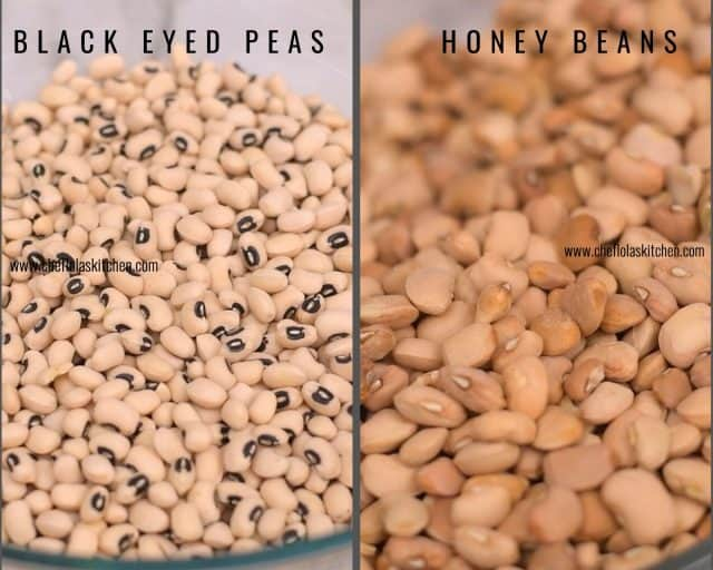 Pictures of Black eyed peas and Brown beans