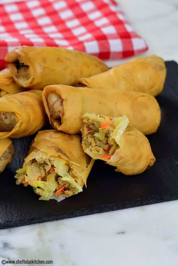 Meat and Veggie filled Crispy Spring Rolls