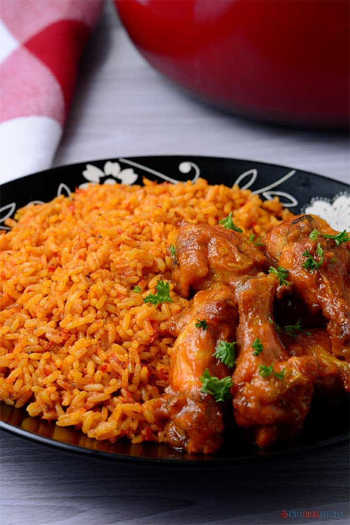 Jollof rice served in a plate
