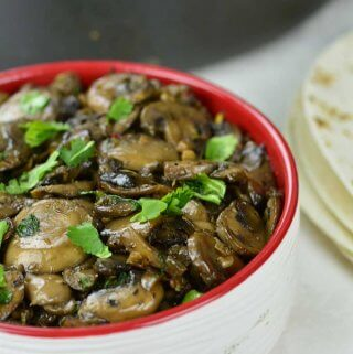 Sauteed Mushrooms served in a bowl