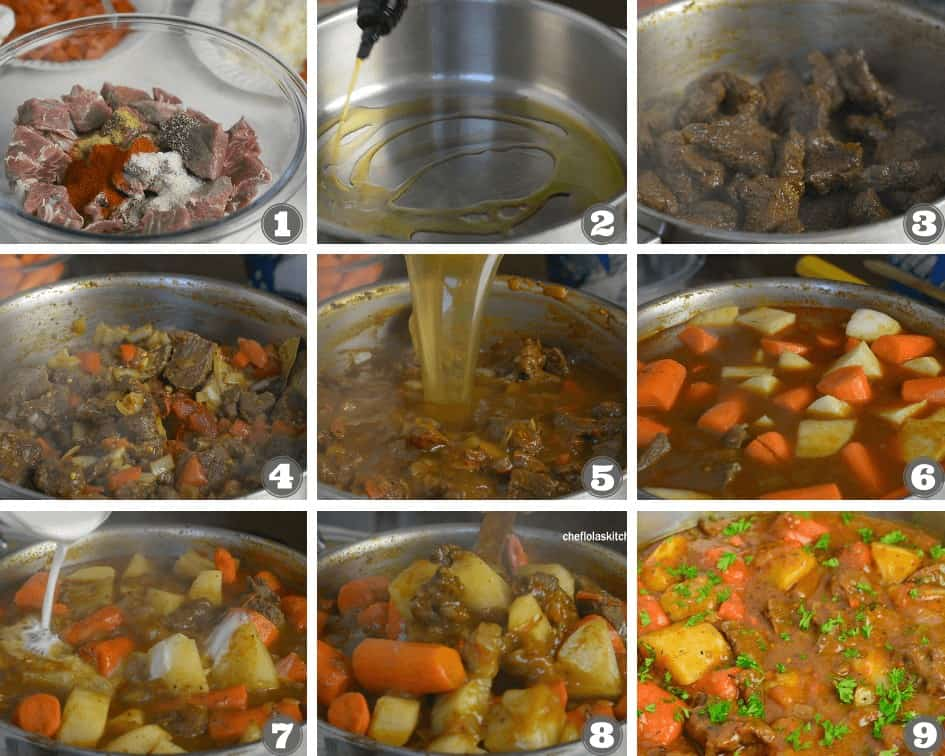 Step by step picture directions on how to make stewed beef potatoes