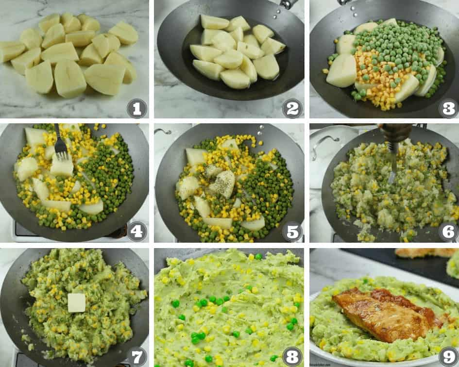 Step by step directions on how to make irio - Keyan mashed potatoes