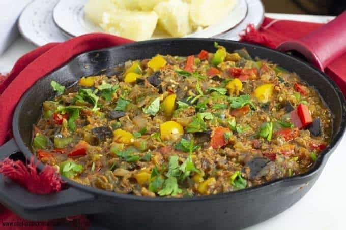 Bell Peppers, Tomatoes And Eggplant stew