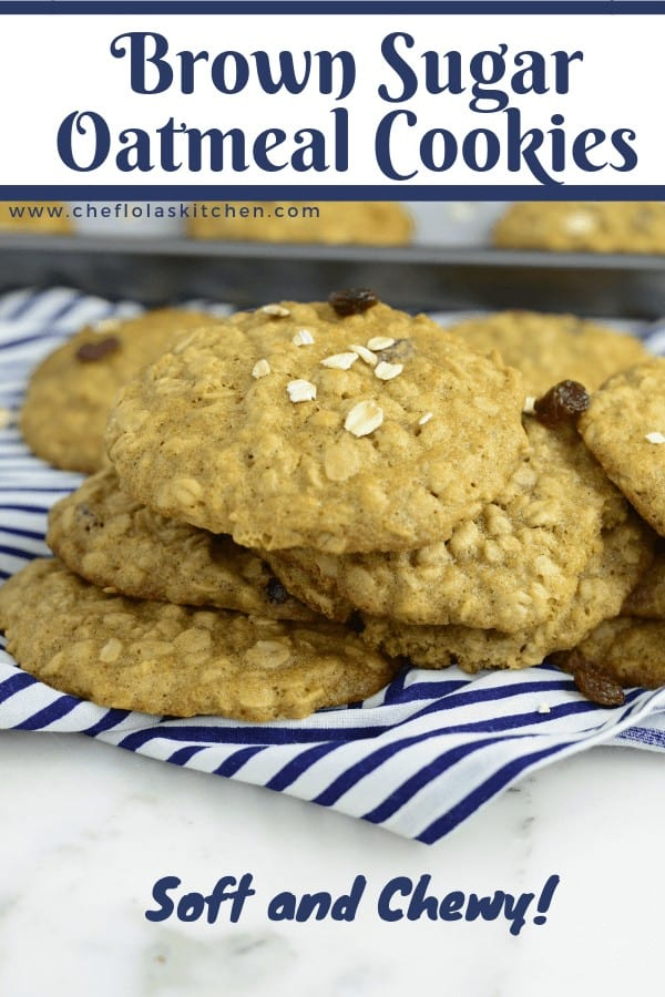 Soft and Chewy Brown Sugar Oatmeal Cookies