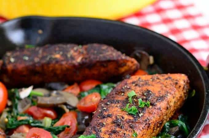 Easy weeknight dinner - Blackened Salmon with Sauteed Spinach and Mushrooms