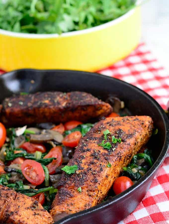 Blackened Salmon with Sauteed Spinach and Mushrooms