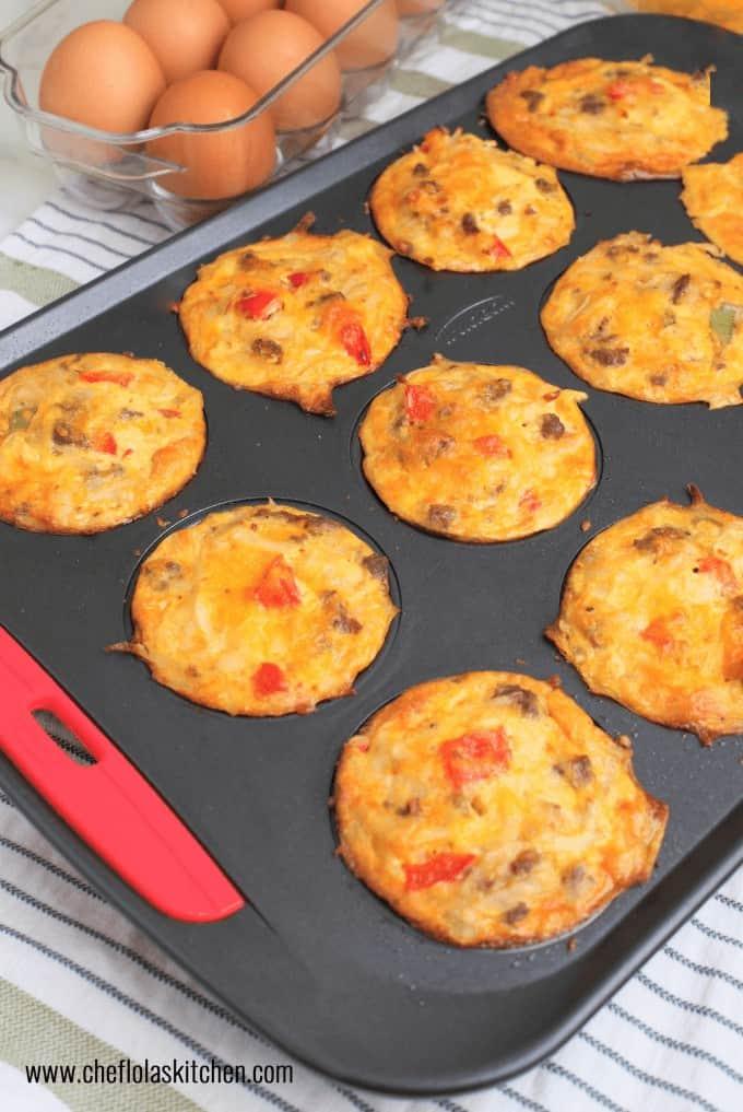 Scrambled Eggs and Potatoes Breakfast Muffins