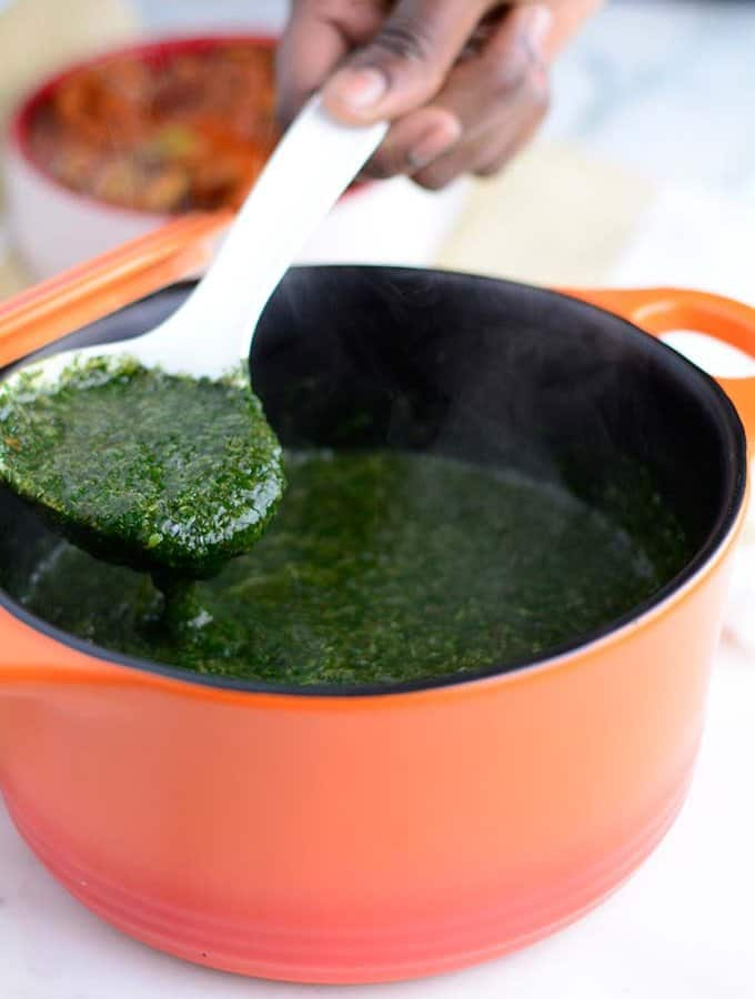 Jute leaves soup also known as Mulukhiyah or ewedu is a very healthy soup which is very popular in the middle east. and Africa.
