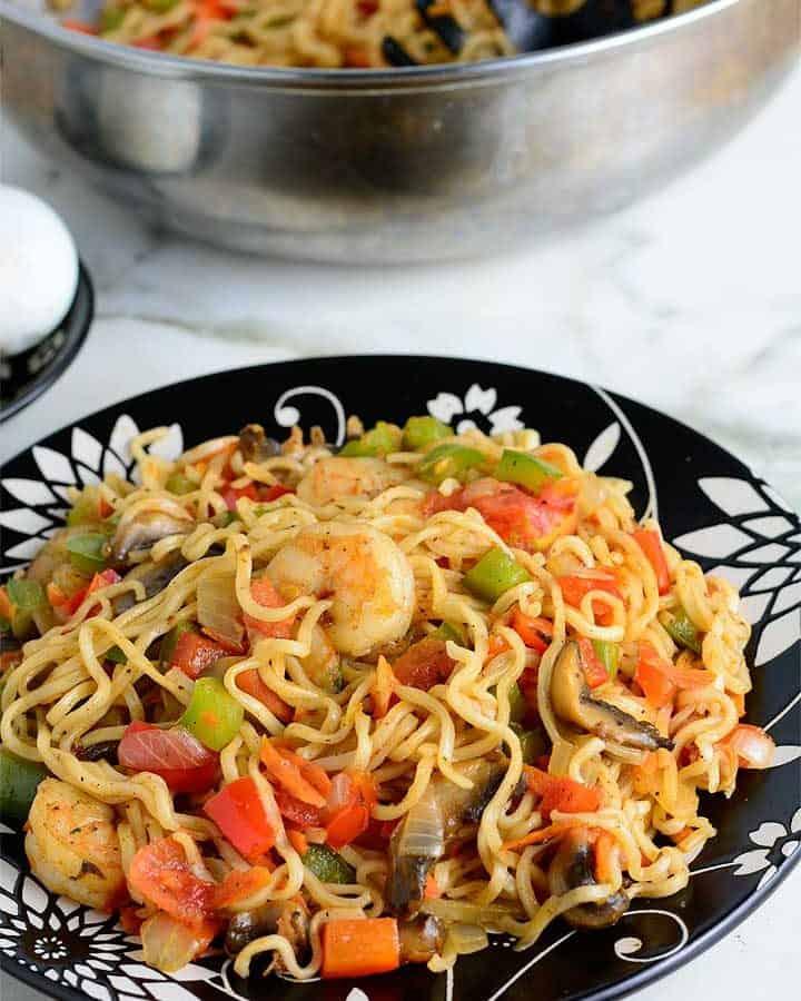 Ramen noodles stir fry loaded with vegetables