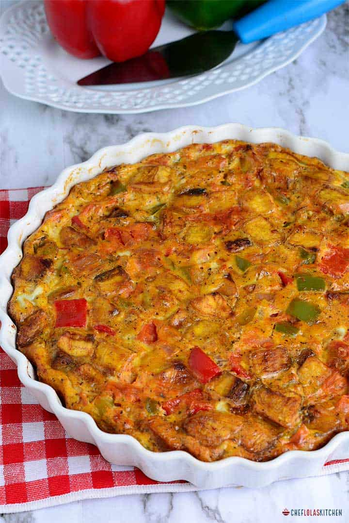 Plantain Frittata loaded with bell peppers and onions