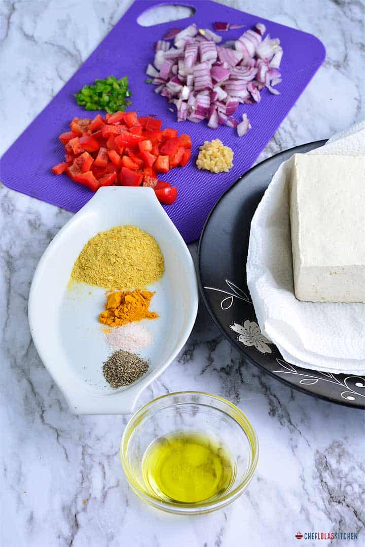 ingredients for making scrambled tofu