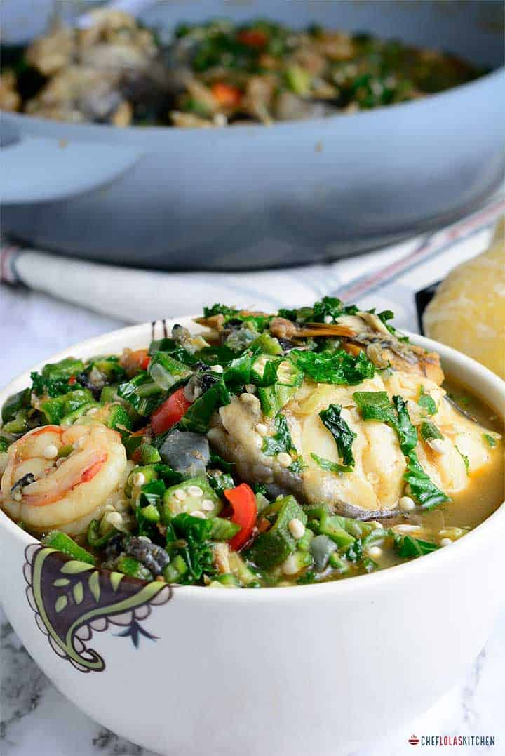 Okro pepper soup commonly referred to as Igbagba Ofofo or Gbagbafo