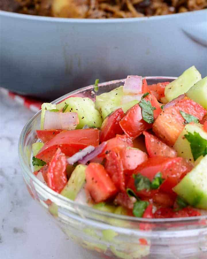 Kachumbari Salad made with Tomatoes, Cucumber, and Onions