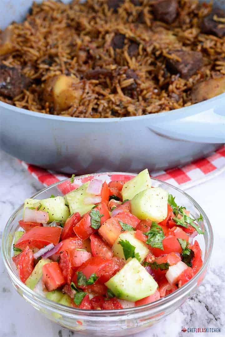 Kachumbari - East African tart salad with beef pilau