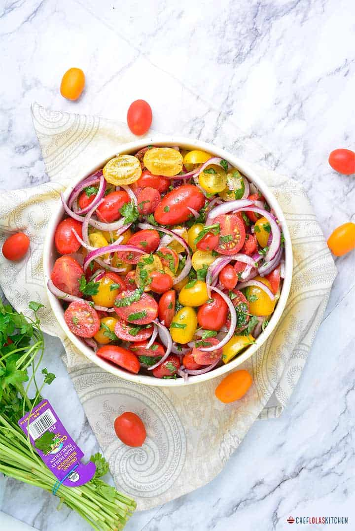 Cherry tomatoes and onion salad.