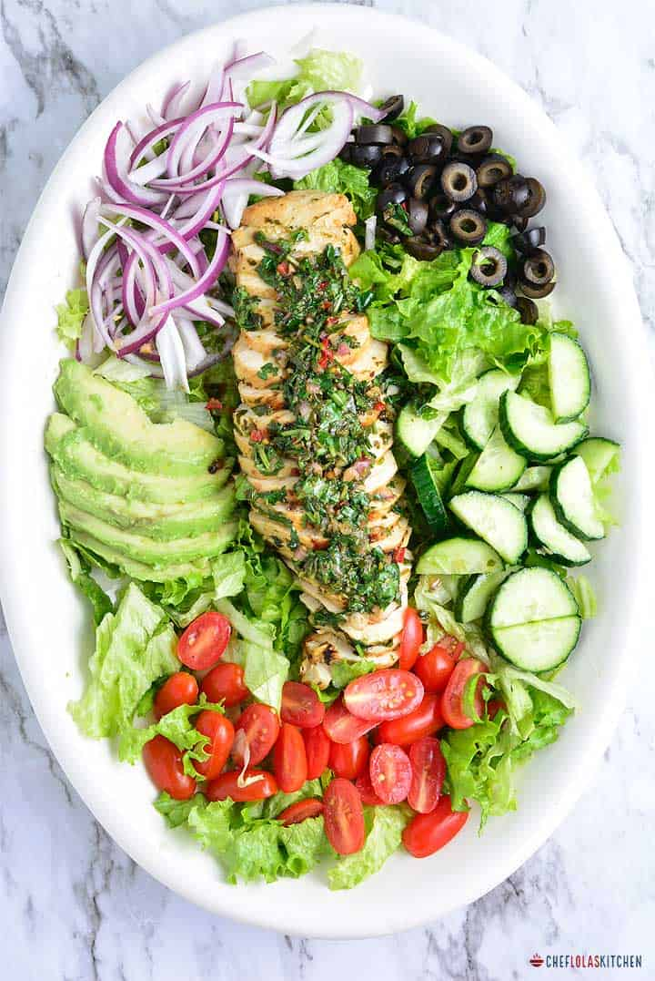Chimichurri chicken salad with avocado