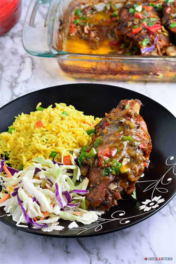 Smothered Turkey wings with coleslaw and rice