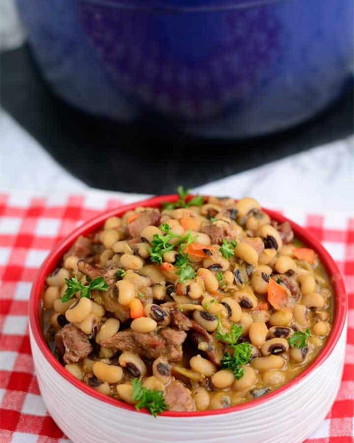 Southern black eyed peas with smoky rustic flavor.