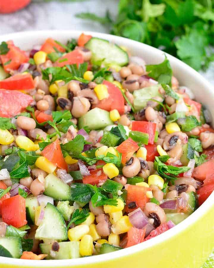 Flavorful black-eyed pea recipe loaded with lots of fresh vegetables