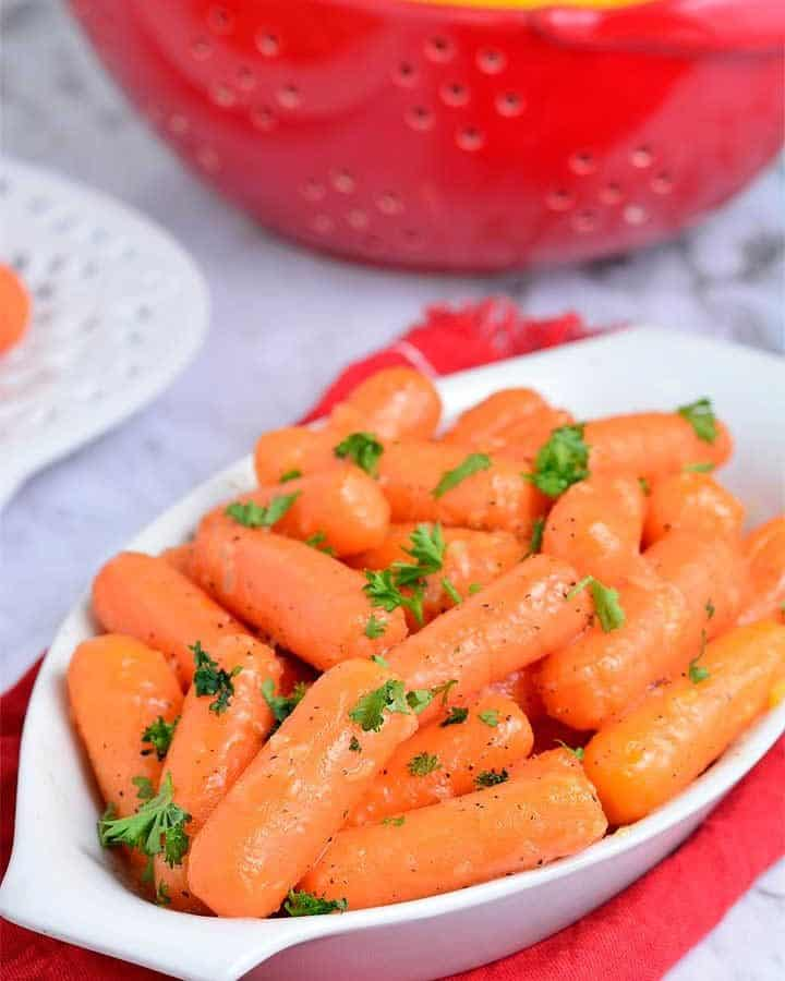 Honey roasted carrots garnished with parsley