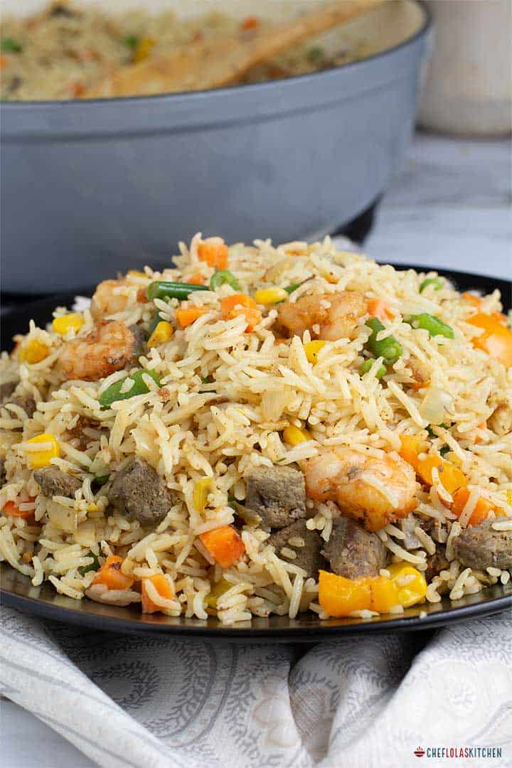 Coconut Fried Rice with beef liver and Shrimps