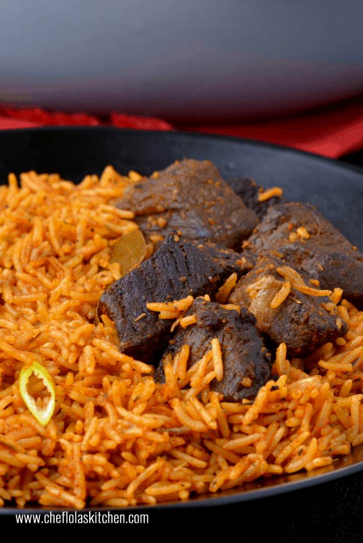 Jollof rice made with Basmati rice
