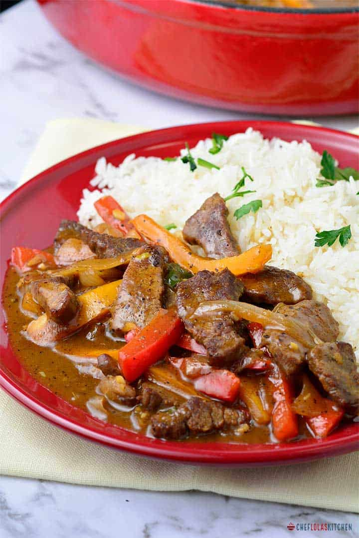 Beef stir fry with bell peppers