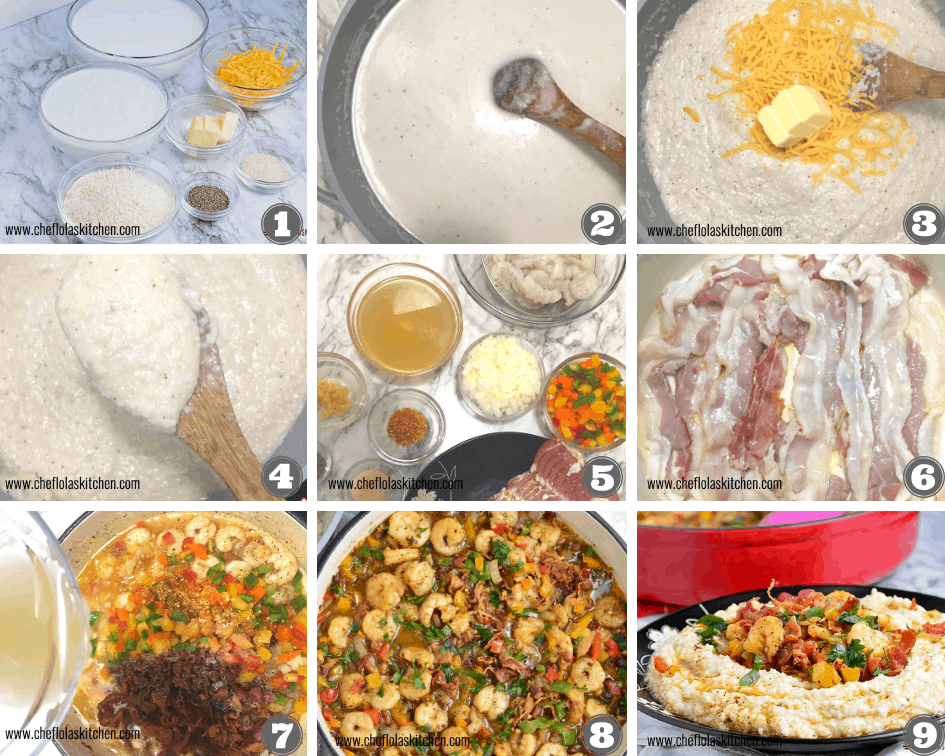 step by step image on directions on how to make southern shrimps and grits