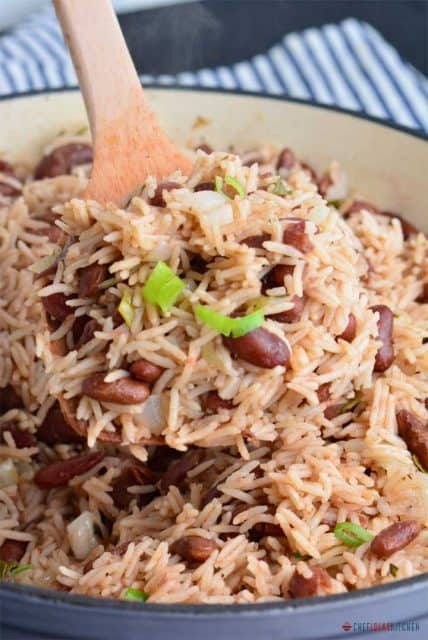 Freshly cooked Jamaican Rice and Peas in a pot