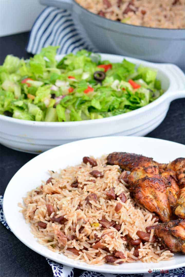 Jamaican Rice and Peas served with Jerk Chicken