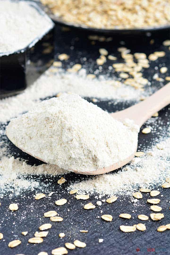 Freshly blended oats in a wooden spoon