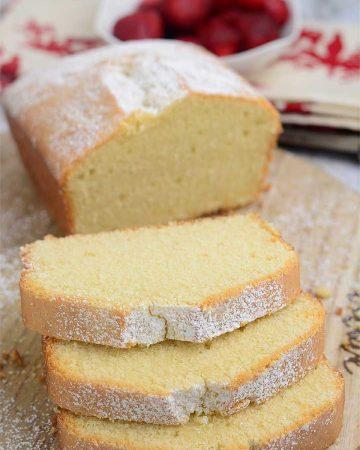 Freshly baked and sliced pound cake