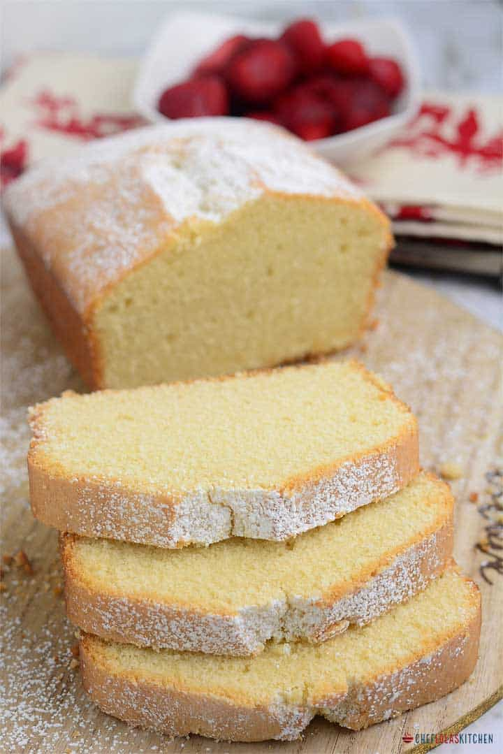 Freshly baked and sliced pound cake