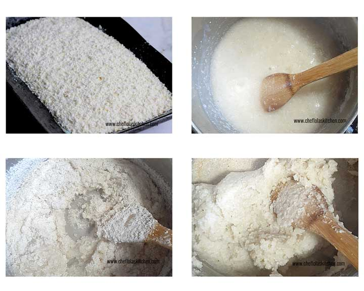 Picture showing the step by step directions on how to make Sadza