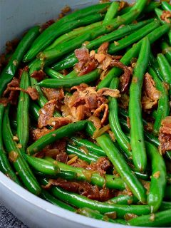 Green Beans and Bacon in a skillet