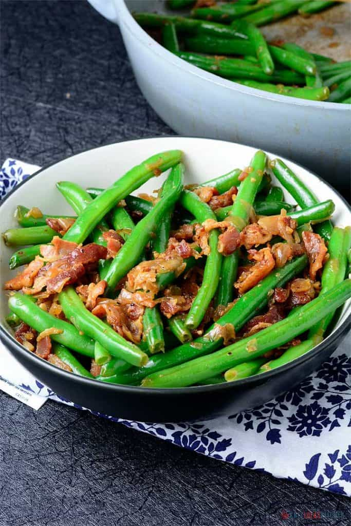Green Beans and Bacon served  in a bowl