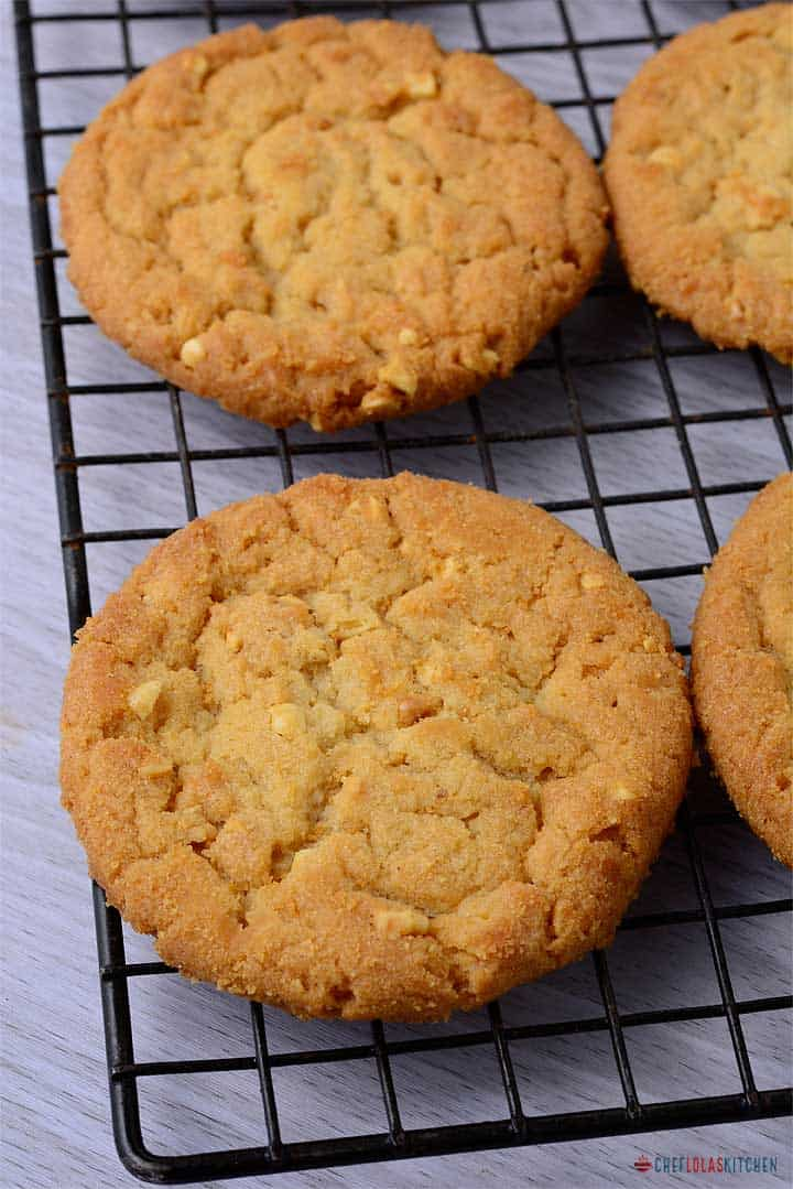 Peanut butter Cookies beautifully placed on a cooling rack