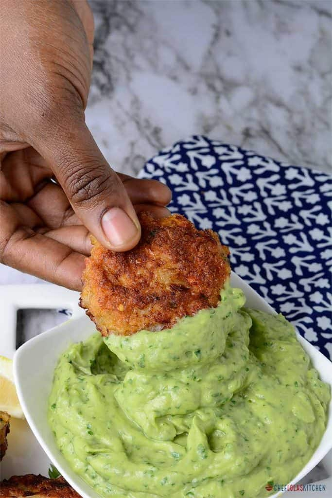 Shimp cake dipped in avocado dipping sauce